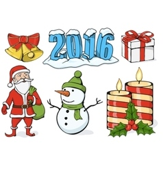 - set of christmas icons vector image