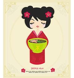 beautiful Asian little girl enjoy Japanese food - vector image vector image