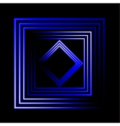 Blue neon square background vector image