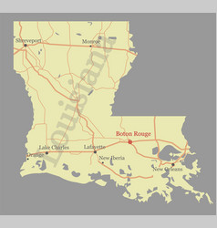 louisiana accurate exact detailed state map vector image vector image