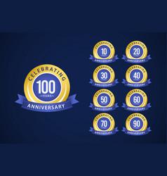 100 years anniversary set celebrations blue vector
