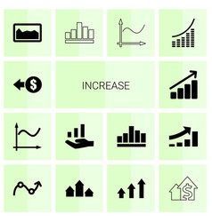 14 increase icons vector image