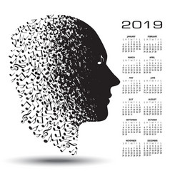 2019 calendar with a man made of musical notes vector image