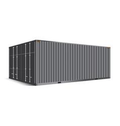 3d perspective gray metallic cargo container vector