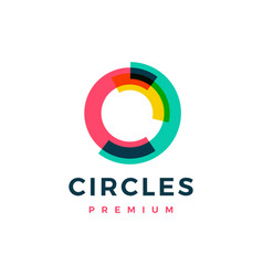 abstract circle overlapping color logo icon vector image