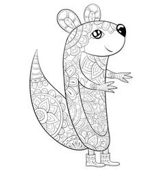 Adult coloring bookpage a cute cartoon squirrel vector