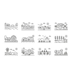 agricultural icons black and white linear set vector image
