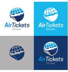 air tickets sticker vector image