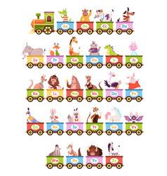 Alphabet train cartoon kids color wagons funny vector