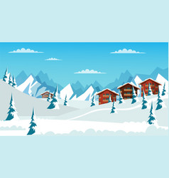 Alpine landscape flat vector