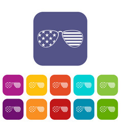 American glasses icons set flat vector
