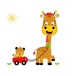 Animals playing time giraffe and tiger cartoon vector