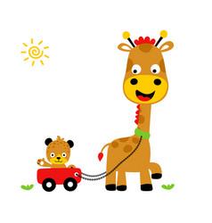 animals playing time giraffe and tiger cartoon vector image