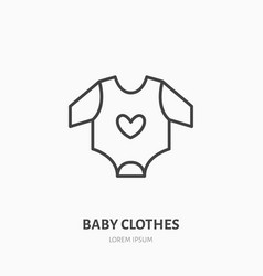 Baby bodysuit flat line icon children apparel vector
