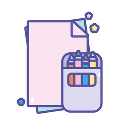 Back to school education papers and pencils color vector