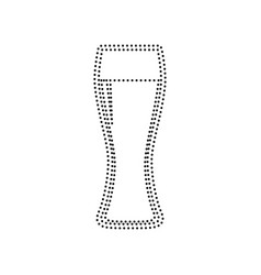 beer glass sign black dotted icon on vector image