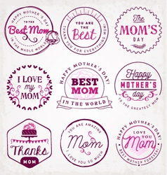 Best Mom Design Elements and Badges vector image