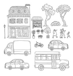 Black and white set of sketch vector