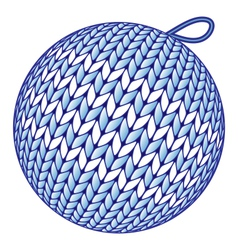 Blue knitted Christmas ball isolated on white vector image