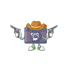 Brave retro camera cowboy cartoon holding guns vector