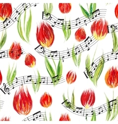 Bright seamless pattern with oil painted red tulip vector image