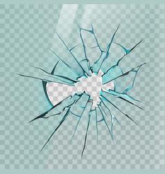 broken glass realistic crack on window ice or vector image