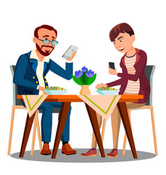 business lunch two people at the table looking in vector image
