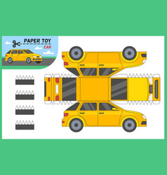 car paper cut toy create 3d vehicle vector image
