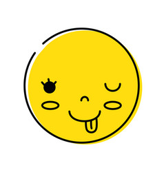 Color kawaii head with cute amusing face vector