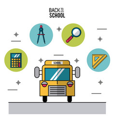 Color poster of back to school with school bus in vector