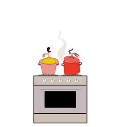 cooking meal in kitchen by tiny women vector image