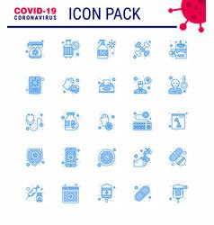 Coronavirus prevention 25 icon set blue smoking vector