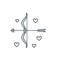 cupid bow and love arrows line icon vector image