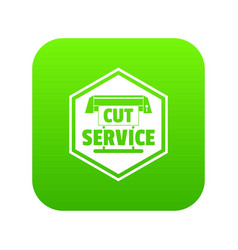 Cut service icon green vector