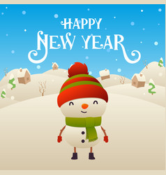 cute cartoon snowman character happy new year vector image