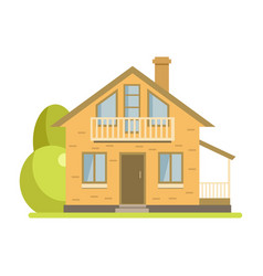 Cute cottage brick house with balcony and attic vector