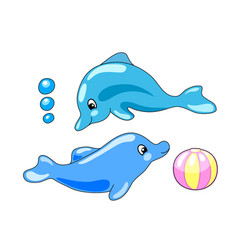 Cute dolphins with playing ball vector