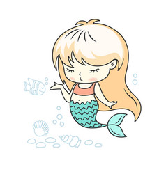 Cute little mermaid giving a kiss with a fish vector