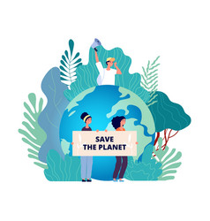 earth day concept save planet group with posters vector image