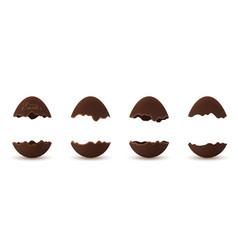 easter broken egg 3d chocolate brown open eggs vector image