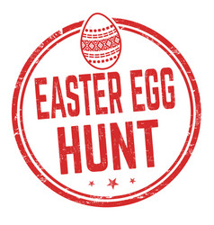 Easter egg hunt sign or stamp vector