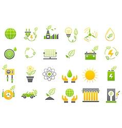 Eco yellow green icons set vector