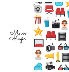 Flat cinema icons background on white vector