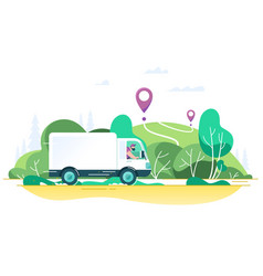 flat delivery truck with man is carrying parcels vector image