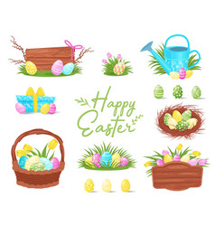 flat set of colorful easter icons painted vector image