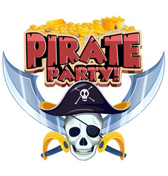 font design for word pirate party with skull and vector image
