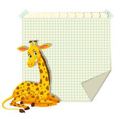 Giraffe on blank note vector
