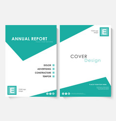 green square annual report cover design template vector image