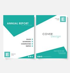 green square annual report cover design template vector image