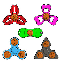 Hand spinner toys with basketball ball flat vector